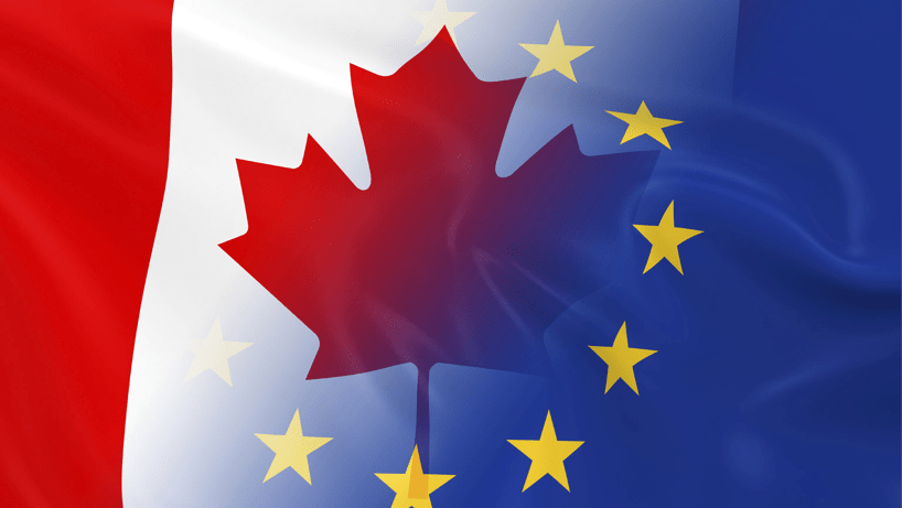 Image with the Canadian and EU flags blending together.