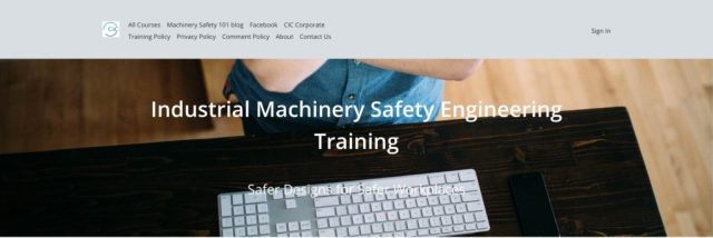 CIC Training Centre header image showing a view looking down onto a desktop with a computer keyboard and a man wearing a blue short-sleeved shirt with his arms crossed over his chest as if contemplating his next move.