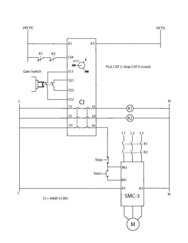 Example Category 3 safety circuit schematic diagram