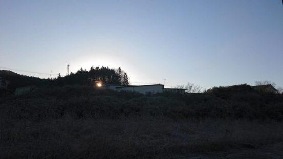 7:00am。木の間からアサヒが見えてきましたよ。(戸塚・女性)