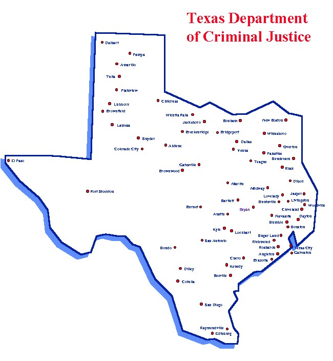 Map Of Texas Prisons.Map Kenedy Prison Texas