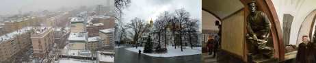 A triptcyh of photos from Moscow shows, from left to right, snow covered rooves of apartment blocks, a gold domed church hidden behind bare trees, a fur-coated woman passes a bronze statue of a soldier in the metro station
