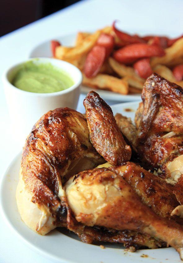 Pollo a la Brasa Peruvian Rotisserie Chicken with Sauce and Salchipapa