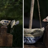 Maritimes Motiv  Keramik auf Altholz