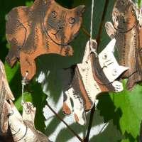 Katzen können fliegen - Windspiel Keramik