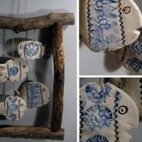 Fische im RahmenWindspiel Mobile Garten Keramik