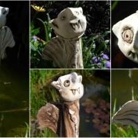 Ein kleiner Vampir schützt den Garten Zaunhocker Keramik