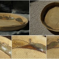 Rustikaler Teller mit kleiner Landschaft - Keramik Unikat