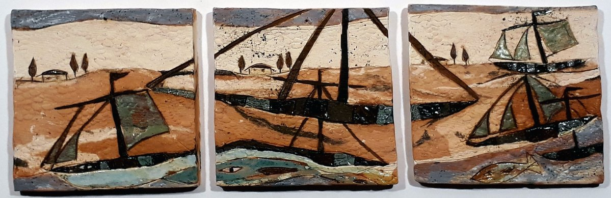 3 Keramik-Fliesen - Fischerboot in kleiner mediterraner Landschaft