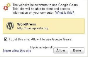 Google Gears w WordPress 2.6