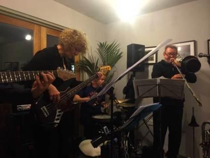 Maciek with Sound Partners Quartet on the 1st May 2015, London. Alison Rayner - bass, Mark Pell - drums, John Bennett - trombone