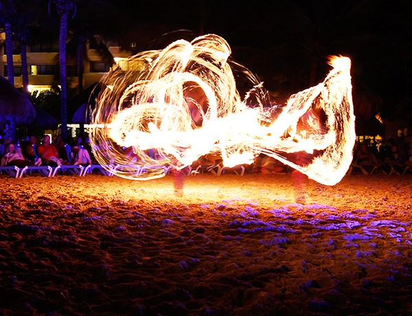 Cancun, Mexico, Fire Dancer, Beach, Ocean, Dance