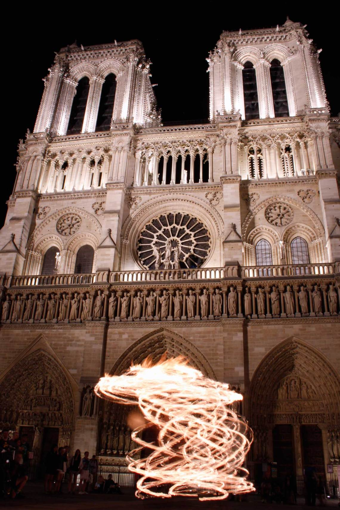 Notre-Dame, Fire Dancer, Paris, France, Midnight in Paris