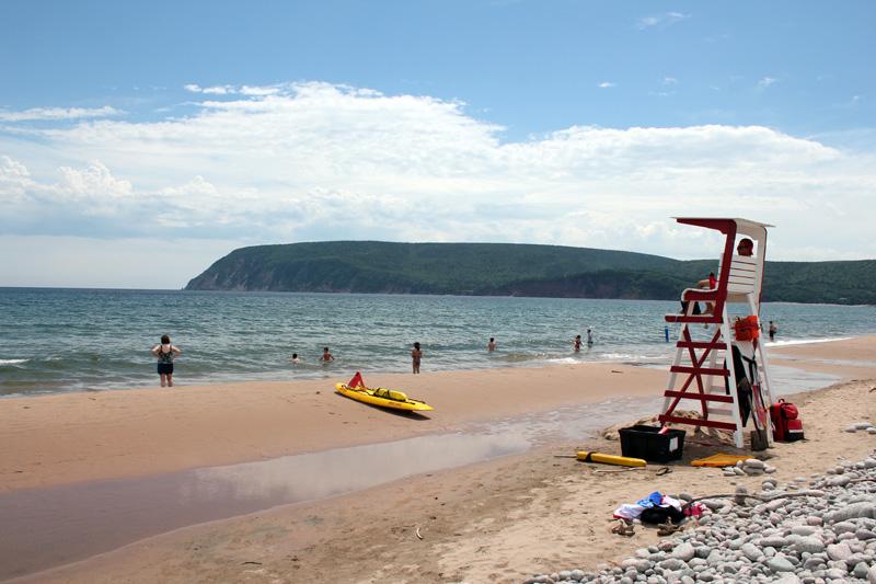Beach, Nova Scotia, Middle Head, Freshwater lake, Atlantic Ocean, Lifeguard, Cape Breton, summer, bikini, speedo