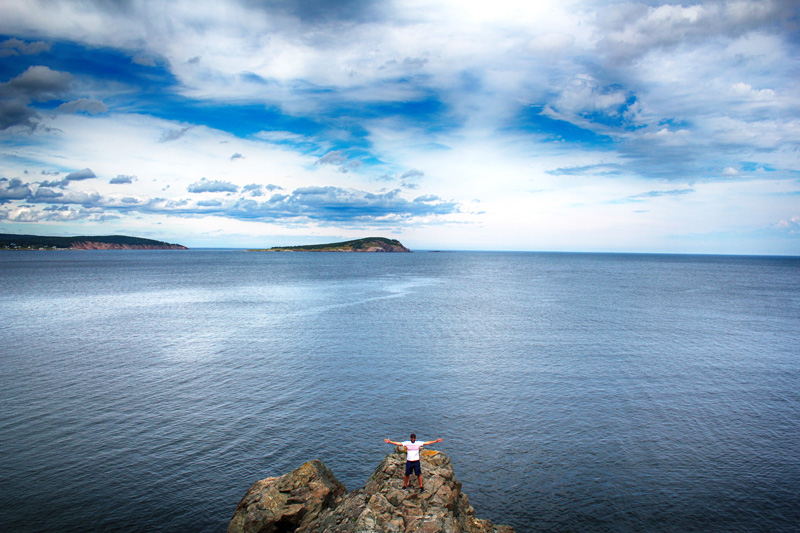 Man, MacIndoe, Jon, Middle Head, Trail, Nova Scotia, East Coast, Rocks, Cliff, Cape Breton