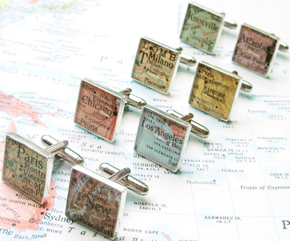 Travel Cufflinks - Map, Gift, Gift Guide