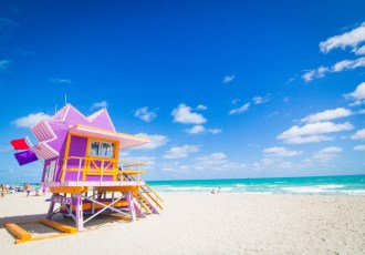 Purple lifeguard tower on South Beach