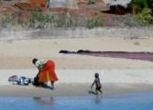 Beach scene - dishwashing- Lake Tanganyika