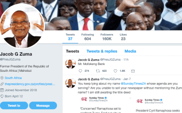 Soical Media: South Africa's Former Pres. Jacob Zuma Joins Twitter