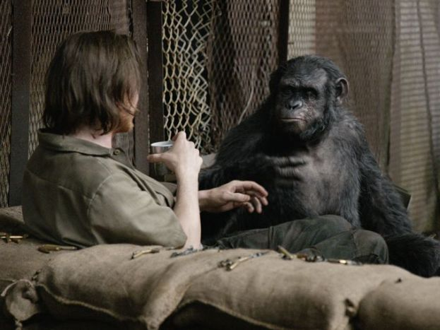 "Koba (Toby Kebbell) has a light-hearted moment with some humans. Let's just say it doesn't end well for the humans in this scene. ""We all know it doesn't become 'Planet of the Humans and Apes,' it becomes 'Planet of the Apes' "" says director Matt Reeves. ""But this is that one moment where there is hope for the humans."""