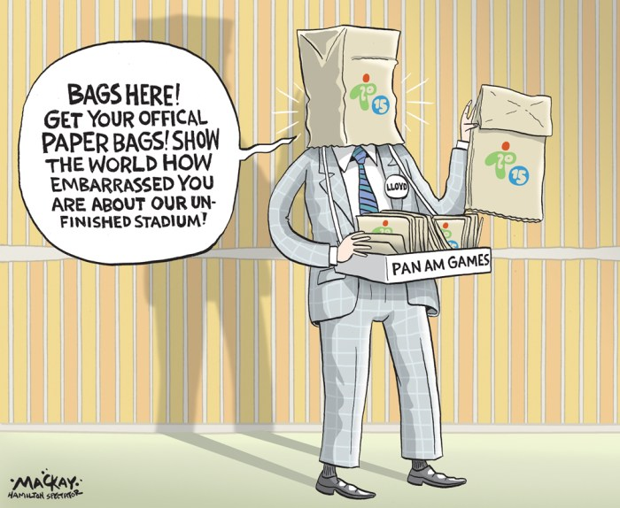 "Editorial cartoon by Graeme MacKay, The Hamilton Spectator - Wednesday April 29, 2015 ÒEmbarrassed in front of the world:Ó Stadium woes put Pan Am Ôat riskÕ says councillor  The city and its stadium contractor are at odds over whether the unfinished $145-million facility can open before the Pan Am Games Ñ or even in time for the international event. Councillors were outraged to learn Monday the 10-month-late stadium won't be completely outfitted with furniture and equipment until the end of June Ñ two weeks or fewer before Pan Am soccer matches kick off. As it is, ongoing construction and repairs to faulty waterproofing have already forced cancellation of dozens of stadium bookings, with a community welcome event and an international women's soccer friendly on the bubble for late May. ""The Pan Am Games are now at risk,"" said committee chair Lloyd Ferguson, who urged committee members to write the province demanding a guaranteed stadium delivery date or risk being ""embarrassed in front of the world."" Terence Foran, spokesperson for provincial project overseer Infrastructure Ontario, said the agency doesn't believe the games are in danger. ""From our perspective, anyone suggesting that furniture delivery equates to an incomplete stadium is choosing to ignore all the successful events hosted at the stadium last year,"" he said, referring to Hamilton Tiger-Cats football games held in the partially finished facility. David Kirkland, a representative of contractor Ontario Sports Solutions argued the stadium would be ""essentially complete"" and usable for events after May 8, even if negotiations continue over contract disputes. But the stadium isn't expected to reach ""substantial completion"" under the contract until the end of June, said Mayor Fred Eisenberger in a letter sent to Premier Kathleen Wynne and top Infrastructure Ontario brass late Monday.  (Hamilton Spectator) http://www.thespec.com/news-story/5588398--embarrassed-in-front-of-the-world-stadium-woes-put-p"