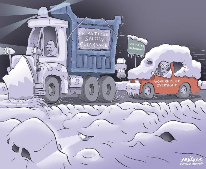 Editorial cartoon by Graeme MacKay, The Hamilton Spectator - Friday May 1, 2015 OntarioÕs winter roads Ôless safeÕ since privatization: auditor  Ontario saved millions but put lives in jeopardy by contracting out highway snow clearing and other winter road maintenance with poor oversight, Auditor General Bonnie Lysyk says in a damning new report. ÒIn the past, highways were cleared much faster,Ó the auditor told reporters Wednesday, noting that Òpreliminary results show an increase in the number of deaths on Ontario highways in 2013 where snow, slush or ice was a factor.Ó ItÕs taking twice as long to clear highways to bare pavement after storms than it did five years ago under a new system of Òperformance-basedÓ contracts with specified service levels and no more on-the-road supervision by Ministry of Transportation staff.  Lysyk said she was stunned to find the Liberal government kept awarding the contracts despite warnings from Ministry of Transportation engineers that many low bidders didnÕt have enough equipment to do the job properly. In one startling case a year ago, an unnamed northern Ontario contractor refused to clear winter roads at one point and was fined for poor performance following an audit prompted by a pileup of 14 tractor trailers that forced an extensive highway closure. Transportation Minister Steven Del Duca refused to apologize for the problems but said that ÒthereÕs no doubt there needs to be improvements. I will get this right.Ó Del Duca said 105 pieces of snow removal, de-icing, salting and sanding equipment have been added in the past year and 20 inspectors added to keep better track of contractors, with whom he will meet in the coming weeks. (Source: Toronto Star) http://www.thestar.com/news/canada/2015/04/29/ontarios-winter-roads-are-less-safe-since-privatization-auditor.html Friday May 1, 2015 OntarioÕs winter roads Ôless safeÕ since privatization: auditor  Ontario saved millions but put lives in jeopardy by contracting out h