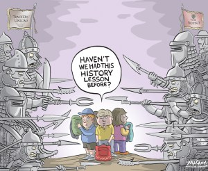 Editorial cartoon by Graeme MacKay, The Hamilton Spectator - Wednesday May 6, 2015 Ontario elementary teachers plan job action Monday OntarioÕs 73,000 public elementary teachers will begin job action on Monday, when they are in a legal strike position. While a strike is not anticipated Ñ local union districts have been given details about a work-to-rule Ñ it remains one of the options available, says Sam Hammond, president of the Elementary TeachersÕ Federation of Ontario. In a statement released Tuesday morning, ETFO said its members would be taking unspecified Òcentral strike actionÓ in 32 school boards across the province Monday. According to an ETFO bulletin obtained by the Star, titled ÒStrike Protocol: Work-to-Rule Ñ Phase 1,Ó and sent out to its Toronto members late Monday night, teachers will not take part in any EQAO (standardized testing), write report cards, fill in for absent principals or Òconduct any reading, writing or mathematics assessments other than those that the teacher deems necessary to report on student progress.Ó Hammond has told the Star that the recent offer on the table from the government and the school boardsÕ association was ÒoffensiveÓ and contained concessions the union would not consider. He said if the concessions remained, the union would be Òlooking at all the options.Ó ÒWe are hoping on, or prior to, May 10 that we get substantial movement at the table and we wonÕt have to move in a direction nobody wants to move in,Ó he has previously said. While talks have continued with the help of a mediator, they recently broke off. A union spokesperson said Monday that ÒETFO is eagerly awaiting a call from the government that it, and the Ontario Public School BoardsÕ Association, are ready to engage in meaningful and substantive bargaining.Ó ETFO is the countryÕs largest teacher union. A strike or job action would affect more than 817,000 elementary school students across the province. (Source: Toronto Star) http://www.thestar.co