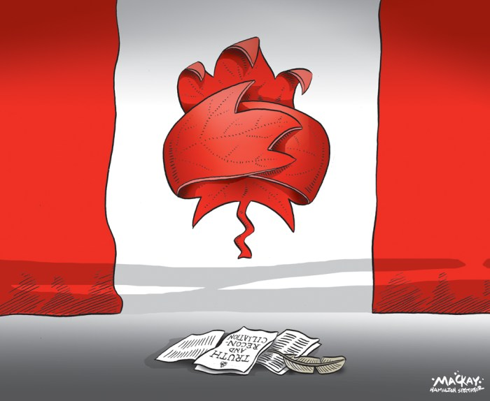 Editorial cartoon by Graeme MacKay, The Hamilton Spectator - Wednesday June 3, 2015 CanadaÕs residential schools cultural genocide, Truth and Reconciliation commission says The residential schools that removed aboriginal children from their homes, subjecting many of them to substandard education, malnutrition, abuse, illness and even death was a key part of a government-led policy that amounted to cultural genocide, the Truth and Reconciliation Commission concludes. ÒThese measures were part of a coherent policy to eliminate Aboriginal people as distinct peoples and to assimilate them into the Canadian mainstream against their will,Ó says the 381-page summary of its final report released Tuesday in Ottawa. ÒThe Canadian government pursued this policy of cultural genocide because it wished to divest itself of its legal and financial obligations to Aboriginal people and gain control over their land and resources,Ó says the report. The heart-wrenching and damning report is the culmination of a six-year examination of the history and legacy of residential schools Ñ largely operated by churches and funded by the Canadian government Ñ that saw 150,000 First Nations, MŽtis and Inuit children come through their doors for more than a century. The exercise has been Òa difficult, inspiring and very painful journey for all of us,Ó said Justice Murray Sinclair, Canada's first aboriginal justice and the commission's chairman. ÒThe residential school experience is clearly one of the darkest most troubling chapters in our collective history,Ó Sinclair told a packed news conference Tuesday in Ottawa. ÒIn the period from Confederation until the decision to close residential schools was taken in this country in 1969, Canada clearly participated in a period of cultural genocide.Ó Through the testimony of residential school survivors, former staff, church and government officials and archival documents, the Truth and Reconciliation Commission pieced together a horrifying histor