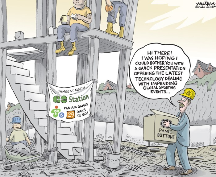 """Editorial cartoon by Graeme MacKay, The Hamilton Spectator - Thursday June 11, 2015 Pan Am trains headed to new Hamilton GO station Ð ready or not  The province plans to deliver soccer fans to Hamilton's new GO Train station for next month's Pan Am Games whether the building is finished or not. Construction continues on the station, platform, train tracks and elevators with just a month left before games celebrations kick off in the city July 9. Transportation Minister Steven Del Duca reiterated Tuesday the $44-million-plus station will be open for business, noting Metrolinx on Monday released a schedule of planned Pan Am service to the city starting July 11. """"I have visited the crews working hard on site daily to deliver this new transit station, and I have been assured by Metrolinx that this new GO Station on James Street North will be operational in time for the Games,"""" he said in an e-mailed statement. """"Landscaping around the station, including the laying of sod, will continue to take place after the station enters service, but these finishing touches will not impact the operational status of this station."""" That's good news Ð if hard to believe, said Mayor Fred Eisenberger. That's the official word and I'm prepared to take them at their word,"""" said the mayor, who noted in a morning speech how much construction remains to be done on the station. """"When I drive by, I personally am hard pressed to see how that might happen, but I'm not a construction guy."""" The mayor said he thought it was possible a basic platform could be made safe and opened for GO train visitors, if not the station building itself. """"I'm suspecting it's just a platform ... If they can get a train there, they can let people off, that's great."""" Eisenberger added he didn't consider a fully open GO station """"integral"""" to games planning as it might have been with the originally envisioned West Harbour stadium. (Source: Hamilton Spectator) http://www.thespec.com/pan-am-games-story/5668541-pan-"""