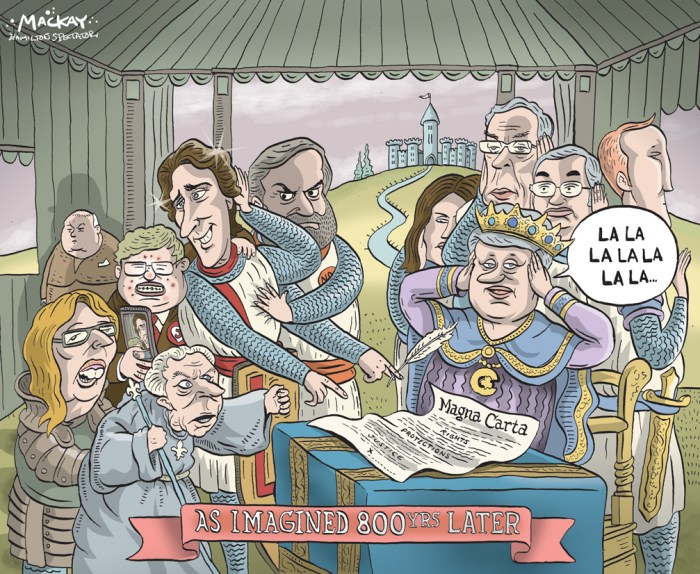By Graeme MacKay, Editorial Cartoonist, The Hamilton Spectator - Saturday June 20, 2015 England celebrates 800th anniversary of Magna Carta This year marks the 800th anniversary of the Magna Carta and England has invited the world to take part in a series of birthday celebrations. You can see history come to life and immerse yourself in medieval times by walking one of six self-guided Magna Carta trails, where various revisions and original copies are housed. The fabled document Ñ first sealed by King John on June 15, 1215 Ñ laid down the foundations of justice and guaranteed liberty for all, becoming the basis for the British Constitution, influential to this day. Considered the foundation of democracy, the Magna Carta may be EnglandÕs best known export. It is also a curious thing to behold: 4,000 words of medieval Latin written on a single sheet of parchment paper with an ink made of dust, water and powdered oak-apple. The Magna Carta was revolutionary for its times as it made everyone, including royalty, subject to the law. The bulk of the 63 clauses dealt with the series of grievances about ownership of land and taxation raised by irate barons and the English church against King John. The 39th clause guaranteed all Òfree menÓ the right to fair treatment and justice (at the time only about one tenth of EnglandÕs population was considered free under the feudal system). The famous decree didnÕt last long at first because King John persuaded Pope Innocent II to declare it null and void. However, the KingÕs son and successor, Henry III, approved a series of revisions over the next decade until the Charter was accepted onto parliamentÕs roll of statues in 1297. Clauses relating to the forest law were removed to create a separate Forest Charter. This gave rights to the common man and the forests were a key source of firewood and food for commoners. (Source: Toronto Star) http://www.thestar.com/life/travel/2015/06/05/on-the-trail-of-the-magna-carta.html Histor