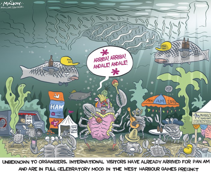 "By Graeme MacKay, Editorial Cartoonist, The Hamilton Spectator - Wednesday June 24, 2015 Invasive crab makes strange appearance in Cootes Paradise Scientists at the Royal Botanical Gardens are scratching their heads about the bizarre discovery Monday of a live Asian crab, a creature listed as one of the 100 worst invasive species on Earth. The adult crustacean Ñ with its centre section, carapace, measuring 8 centimetres across Ñ was identified as a Chinese Mitten Crab. It was inadvertently captured at the Cootes Paradise Fishway, a structure designed to keep carp out of Cootes Paradise from Hamilton Harbour, but allow other desirable species of fish to pass through. ""I was absolutely amazed how big the crab was and the fact that it was living in fresh water,"" said Tys Theysmeyer, head of natural lands at the RBG. According to the World Conservation Union, an international environmental group based in Switzerland, the burrowing crab with furry, mittenlike claws ""modifies habitats by causing erosion due to its intensive burrowing activity and costs fisheries and aquaculture several hundreds of thousands of dollars per year by consuming bait and trapped fish as well as by damaging gear."" But while the Chinese Mitten Crab has caused major problems in Europe, it is not viewed as a threat to the Great Lakes, says Hugh MacIsaac, an invasive species expert from the University of Windsor. The creature, he says, would not be able to reproduce. The crab requires saltwater to bear offspring and that's not something a crab in Hamilton Harbour could reasonably find. The St. Lawrence Seaway does not become salty enough until Quebec City, nearly 900 kilometres away from Hamilton. In other parts of the world where fresh and salt water are closer together, such as the Thames River in England, it's a different story. The crustacean is multiplying rapidly there, destroying fragile riverbanks as it preys on native species. Six years ago, Londoners were told that the crab was sa"