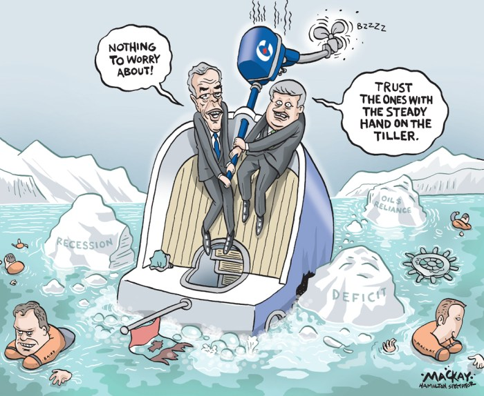 Editorial cartoon by Graeme MacKay, The Hamilton Spectator - Friday, July 24, 2015 Feds canÕt avoid $1-billion deficit, budget officer says The federal Conservatives will fail to accomplish their key promise of balancing OttawaÕs books this year, instead running a $1-billion budget deficit in 2015, the parliamentary budget officer says. Budget watchdog Jean-Denis FrŽchette said Wednesday that the economic picture had changed since the ConservativesÕ budget in April, which predicted surpluses in 2015-16 and over the next several years. ÒEconomic data has since indicated declines in real GDP (gross domestic product) that were not reflected in the governmentÕs assumptions,Ó FrŽchette said. He noted that the Bank of Canada, in its quarterly forecast last week, had chopped its prediction for economic growth this year from 2 per cent to about 1 per cent. The worse than expected economic conditions will reduce federal tax revenues, trimming $3.9 billion from OttawaÕs fiscal accounts in 2015, the budget watchdog said. But taking into account the $1 billion set aside as a rainy-day fund by Finance Minister Joe Oliver and factoring in other impacts, FrŽchette said the Conservatives will run a $1-billion deficit this year. With an eye on the Oct. 19 election, opposition parties seized on the report to slam the ConservativesÕ handling of the economy. Prime Minister Stephen Harper has promised for years that 2015 would be the year his government puts an end to a seven-year string of budget deficits. ÒThat was supposed to be the ConservativesÕ hallmark branding, wasnÕt it, balanced budget?Ó NDP leader Thomas Mulcair asked during a campaign-style swing through southern Ontario. ÒWe now know thatÕs not going to be the case.Ó Mulcair said Harper put the economy at risk by relying too much on the oil and gas industry as an engine of growth. ÒThe Conservatives put all of our economic eggs in the resource extraction basket, and now that that sector is having considerable diffi