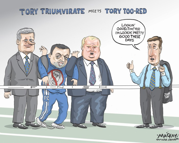 By Graeme MacKay, The Hamilton Spectator -  Wednesday October 5, 2011 HarperÕs talk of Tory trifecta handicaps Hudak Stephen HarperÕs public musings about a Conservative hat trick Ð Tories ruling Ottawa, QueenÕs Park and TorontoÕs city hall Ð is more chilling than warming for Ontario Progressive Conservatives, new polling data suggests. Ditto for the high-profile endorsement by Finance Minister Jim Flaherty of PC chief Tim Hudak last week. ÒOntario voters have always shown a tendency to hedge their bets between the two senior levels of government,Ó EKOS Research pollster Frank Graves told The Globe. He noted that Bill Davis was Progressive Conservative premier during Pierre TrudeauÕs tenure, then there was Tory Mike Harris during the Jean ChrŽtienÕs time in government and now thereÕs Dalton McGuinty and Mr. Harper. The latest EKOS poll numbers suggest a strong Conservative majority in Ottawa ÒpredisposesÓ Ontarians not to vote for Mr. Hudak. In fact, about three to one Òlean to be less rather than more likely to vote Conservative,Ó Mr. Graves said. Released Monday, the EKOS survey gives the Liberals a seven point lead over the Tories Ð with 37.8 per cent support for Mr. McGuinty compared to 30. 6 per cent for Mr. Hudak. Andrea Horwath and her New Democrats are at 22.7 per cent. That tally is in contrast to the Nanos Research survey conducted for The Globe and Mail and CTV. It shows the Tories and Liberals locked in a dead heat, with 35.6 per cent support for Mr. McGuinty compared to 36.4 per cent for Mr. Hudak. (Source: Globe & Mail) http://www.theglobeandmail.com/news/politics/ottawa-notebook/harpers-talk-of-tory-trifecta-handicaps-hudak-pollster-says/article2188847/ Canada, Stephen Harper, Tim Hudak, Rob Ford, John Tory, Tory, Trumvirate, Trifecta, Conservative, PC, Ontario