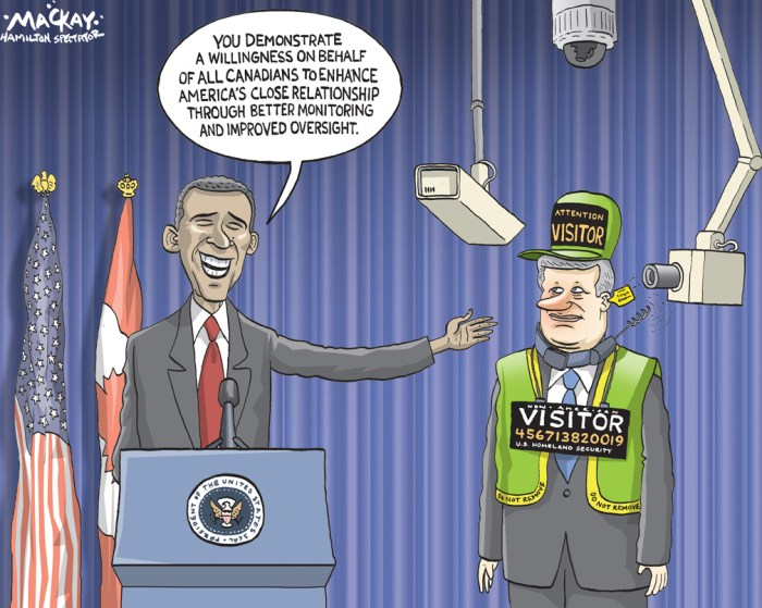 By Graeme MacKay, The Hamilton Spectator - Thursday December 8, 2011 Canada-U.S. border agreement signed Amid the manifold distractions of an American presidential election year, much of the perimeter-security agreement between the United States and Canada, announced by Stephen Harper and Barack Obama in Washington on Wednesday, may be difficult to implement promptly. But one important element of the agreement that is directly connected to security Ð the sharing of data on who has entered or exited one of the two countries Ð ought to be put into effect, sooner rather than later. The Americans have a particularly well-founded eagerness to prevent the entry of terrorists into their country Ð and of more ordinary criminals, too. Consequently, the U.S. government was resolved to include the entry-exit system in the border agreement. In fact, terrorists have never favoured the Canadian border as an entry point into the U.S. But the data sharing will be valuable to Canada, too, not only for its own security, but also on other matters. At present, the federal government knows little about departures from Canada that affect the functioning of the immigration system. For one thing, there is no reliable way of knowing whether unsuccessful refugee claimants have done the right thing and left the country, or whether they have continued to live in Canada, hoping to avoid deportation Ð an outcome for which the odds are good. As for permanent residents of Canada who wish to become citizens, the government has no way of verifying whether they have stayed in the country for the required amount of time. Anecdotal evidence suggests that a significant number of citizenship applicants have had a tenuous presence in Canada Ð that they have not truly settled here and put down roots. The new system will be a great help to Canada in keeping track of all this. (Source: Globe & Mail) http://www.theglobeandmail.com/globe-debate/editorials/canada-us-border-agreement-a-good-thing/article418