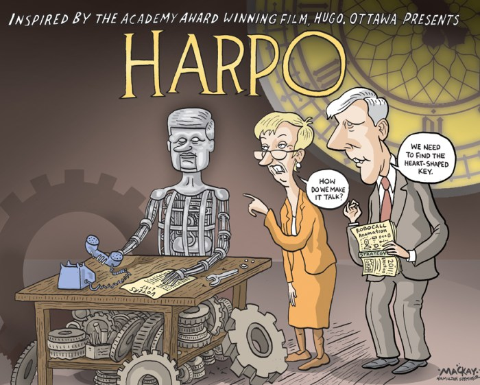 """By Graeme MacKay, The Hamilton Spectator, Tuesday February 28, 2012 Harper denies robocall charges Standing firm amid questions and allegations of a political conspiracy, Prime Minister Stephen Harper said he had no knowledge of any wrongdoing in the robocalls scandal, and challenged the opposition parties to prove his Conservatives were guilty. On the first day back for parliamentarians after a week off, the opposition parties used the majority of question period to demand answers from the government about what Conservatives knew about the robocalls and when they knew it. A Postmedia News-Ottawa Citizen investigation revealed last week that Elections Canada has traced fraudulent phone calls made during the federal election to an Edmonton company that worked for the Conservative party across the country. Opposition parties demanded the Conservatives come clean and provide information proving they were not involved in any telephone campaign to harass voters and direct them to non-existent polling stations. """"The prime minister must be tough on crime,"""" interim NDP leader Nycole Turmel said. """"Will he commit all the necessary resources to investigate and prosecute and put an end to vote suppression?"""" Harper rejected what he called """"broad, sweeping"""" allegations from the opposition parties, and put the onus on the NDP and Liberals to provide evidence of wrongdoing. """"If the NDP has any information that inappropriate calls were placed Ñ and we certainly have information in some cases and we have given that to Elections Canada Ñ then I challenge that party to produce that information and give it to Elections Canada,"""" he said. (Source: Vancouver Sun) Canada, Harpo, Stephen HArper, Hugo, parody, movie, Nicole Tyrmel, Bob Rae, Robocall, robot, election, campaign"""