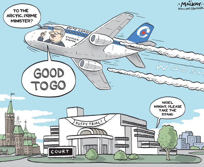 By Graeme MacKay, Editorial Cartoonist, The Hamilton Spectator - Thursday August 13, 2015 Harper heads north on campaign tour as Duffy trial resumes Stephen Harper is heading to Northern Canada in the days after his former chief of staff Nigel Wright begins testifying at the Mike Duffy trial, a campaign itinerary that will take the Conservative Leader far from the story as it begins unfolding in an Ottawa courtroom. Mr. HarperÕs chartered election plane is expected to fly to the Northwest Territories Thursday and Nunavut on Friday before heading south again. The Conservative Leader has made a habit of touring the North for about one week each summer as part of an effort to cement a legacy in the region Ð from defending sovereignty to promoting development Ð and he cancelled this yearÕs trip in favour of an early election call. His campaign stumping in the territories by comparison will be brief. Campaign spokesman Kory Teneycke declined to discuss Mr. HarperÕs itinerary this week, saying the Tories will Òprobably spend a couple of daysÓ in Northern Canada along the way. He dismissed the notion the Harper campaign is setting its travel itinerary by the Duffy case. ÒThe trialÕs going to be going on for three weeks during the middle of the campaign. WeÕre going to go to every corner of the country while the trial is on. And everywhere we go, weÕre going to have a bus or plane full of media and [weÕll be] taking questions from them,Ó Mr. Teneycke said. (Source: Globe & Mail) http://www.theglobeandmail.com/news/politics/harper-heads-north-on-campaign-tour-as-duffy-trial-resumes/article25920402/ Canada, Stephen Harper, Mike Duffy, Arctic, election, 2015, campaign, jet, Ottawa, court, Nigel Wright