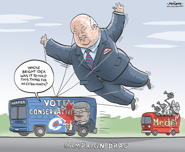 By Graeme MacKay, Editorial Cartoonist, The Hamilton Spectator - Thursday August 20, 2015 Duffy trial sapping Conservatives' morale Even a contrarian would not argue that Stephen HarperÕs campaign is off to an inspiring start. A mega-trade deal that would have given the Conservatives a win on the economic front just in time for the election call failed to materialize. Looking at the polls, there is little evidence of the lift in party fortunes that last monthÕs round of child benefit cheques was meant to result in. HarperÕs main rivals each used the first leaders debate of the campaign productively enough to keep the contest too competitive for the incumbentÕs comfort. In Quebec, the positive impact of the return of Gilles Duceppe on Bloc QuŽbŽcois fortunes has turned out to be short-lived, throwing a wrench in the Conservative game plan. The party needs the Bloc to soften up New Democrats in the ridings that Harper has targeted for gains in October. Now the Senate scandal is again front-and-centre in the media, predictably sucking out the oxygen from the Conservative election tour. Nigel WrightÕs long-awaited appearance at Sen. Mike DuffyÕs trial may not have implicated Harper further in the spending scandal but it certainly did not give the 2011 Conservative supporters who have since strayed to other parties a reason to run back to the fold. (Chantal Hebert, Continued: http://www.thestar.com/news/federal-election/2015/08/14/duffy-trial-making-it-hard-for-many-loyal-conservatives-to-feel-proud-hbert.html) Canada, election, Senate Expenses, scandal, Mike Duffy, media, election, Stephen Harper, campaign, bus
