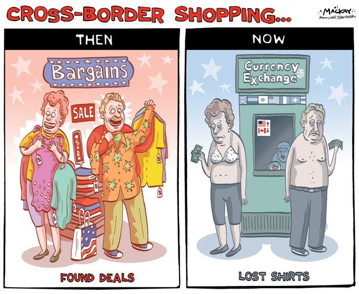 By Graeme MacKay, Editorial Cartoonist, The Hamilton Spectator - Thursday August 27, 2015 Declining dollar has Canadians rethinking cross-border shopping habits Many Canadians are wondering if they can cram some last-minute cross-border travel plans into the next few weeks while others are already deep into back-to-school shopping excursions. And money Ð more than ever before Ð is taking precedent in the planning. While it has not been definitively declared a recession, CanadaÕs shrinking economy certainly has some residents concerned. According to a recent survey from digital offers RetailMeNot.ca, 73% of Canadians are worried about the nationÕs economy. JulyÕs interest-rate cut was made in hopes of stimulating growth, but only 31% of survey respondents feel confident that the Canadian dollar will strengthen before the end of the year Ð making it more important than ever for Canadians to stretch their income further. The current state of the economy has Canadians paying more attention to their spending habits. Sixty-five per cent agree that itÕs important to stick to a budget no matter the personal sacrifice, with 62% stating that cutting back has them missing out on certain activities. Research shows other habits Canadians are adopting to save money include buying everything on sale (72%), limiting meals at restaurants (62%), searching for coupon and promo codes (49%) and taking public transportation or carpooling (18%). ÒNearly half of Canadians are worried about being able to afford everything they need this year,Ó says Kristen Larrea for RetailMeNot, Inc., operators of the world's largest marketplace for digital offers. ÒHowever, with a little savvy spending, consumers should be able to satisfy their needs and wants throughout 2015. Simple behavioural changes, such as utilizing price comparison tools and checking for online promo codes, will help Canadians maximize their purchasing power, so they can get more for their money.Ó (Source: Toronto Sun) http://