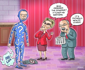 By Graeme MacKay, Editorial Cartoonist, The Hamilton Spectator - Tuesday September 15, 2015 Patrick Brown is headed for his biggest face-off away from the rink. When MPPs return from their summer break Monday, the hockey-playing politico takes a seat in the legislature across from Premier Kathleen Wynne for the first time since being elected Progressive Conservative leader May 9. BrownÕs performance will be carefully scrutinized and the more experienced Wynne will get a flurry of questions on the $9 billion sell-off of Hydro One, her Ontario Retirement Pension Plan and the economy. With the issues spilling over to the Oct. 19 federal campaign trail, rival party leaders are as eager to score points as Wynne is to stand her ground, with polls suggesting the Hydro One sale is not as popular as she would like. ÒWe will very clearly point out how we should take a different approach,Ó Brown said, dubbing the hydro deal a Òfire saleÓ and the pension premiums that employees and employers would have to pay a Òjob killer.Ó He also pledged to set a different tone by not being Òblindly partisan.Ó New Democrats said Hydro One, in which Wynne plans to sell a 60 per cent stake to raise money for transit and debt reduction, is their Òbig pushÓ because they fear it will lead to higher electricity prices. ÒHydro bills are through the roof,Ó said NDP House Leader Gilles Bisson. In an interview Friday in Quebec City, where she was attending a joint cabinet meeting with Quebec Premier Philippe Couillard, Wynne said she is will not Òback downÓ on Hydro One. She defended eventual proceeds from the sale as crucial to improving public transit and reducing gridlock that is costing the economy billions in lost productivity. ÒThe building of infrastructure is a high priority for us...and so I am going to be talking to the people of Ontario through the legislature about the work that we're doing on that front,Ó said Wynne. While the government plans to sell off 60 per cent of Hydro