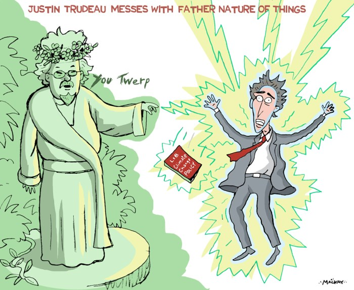 By Graeme MacKay, Editorial Cartoonist - Saturday September 26, 2015 During a testy phone call, Justin Trudeau dismissed David SuzukiÕs views on the Liberal climate change policy as Òsanctimonious crap,Ó according to Suzuki. Suzuki revealed the contents of the conversation during an interview on SiriusXMÕs Everything is Political with Evan Solomon. Suzuki says he fired back, calling Trudeau a Òtwerp.Ó The renowned scientist, broadcaster and activist says Trudeau called him personally June 28, 2015 to talk about the Liberal platform on climate change that was to be revealed the next day. ÒI didnÕt call Justin, he called me,Ó Suzuki said. ÒHe wanted an endorsement and he wanted to tell me exactly what his program was.Ó For the record: Justin TrudeauÕs speech on the environment: June 29, 2015 The program includes support for the Keystone XL pipeline, a rejection of the Northern Gateway pipeline and a commitment to work with the provinces to establish a cap-and-trade system. ÒI said, ÔJustin, stop it, youÕre just being political, you just want to make headway in Alberta,ÕÓ Suzuki says he told Trudeau. ÒYouÕre for the development of the tar sands, youÕre for the Keystone pipeline, but youÕre against the Northern Gateway, youÕre all over the damn map!Ó MacleanÕs explains: Where the leaders stand on the environment Suzuki went on to advise Trudeau that taking the target of a 2 degree rise in temperature seriously means 80 per cent of the oil sands has to stay in the ground. Suzuki believes stopping oil sands development will mean Òno debate about pipelines or expanding railways or shipping stuff offshoreÑnone of that comes into it.Ó Suzuki says this is when the exchange turned nasty. ÒHe said, ÔI donÕt have to listen to this sanctimonious crap. I proceeded to call him a twerp.Ó (Source: MacLean's) http://www.macleans.ca/politics/ottawa/why-david-suzuki-called-justin-trudeau-a-twerp/ Canada, Justin Trudeau, environment, climate change, Liberal, Mother Nature, Davi