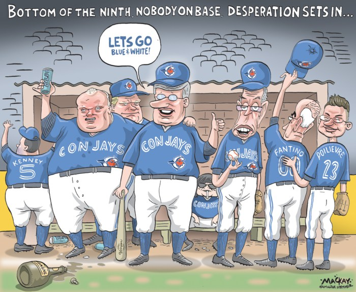 By Graeme MacKay, Editorial Cartoonist, The Hamilton Spectator - Friday October 16, 2015 Blue Jays win throws curve at election The federal election is dealing with a late curveball hurled by the red-hot Toronto Blue Jays. Blue Jays fans in the vote-rich 905 and 416 regions Ñ studded with ridings that could help determine who becomes CanadaÕs next prime minister Ñ are certain to tune into the Jays game on Monday night while possibly tuning out the election. The first pitch in the third game of the JaysÕ American League showdown against the Kansas City Royals is scheduled for 8 p.m. ET on Monday, 90 minutes before the polls close to end an election campaign thatÕs been almost as enthralling to CanadaÕs political junkies as the Jays post-season run has been to the countryÕs sports fans. The teamÕs post-season games have earned huge ratings, with overnight numbers for the first three outings against the since-defeated Texas Rangers suggesting an average audience of 2.8 million for the Rogers-owned Sportsnet. Scott Moore, president of Sportsnet and NHL Properties for Rogers, tweeted that more than nine million Canadians watched Wednesday nightÕs thrilling nail-biter that ended with a 6-3 Jays victory and elimination for the Rangers. ÒSeriously. Elections Canada should consider setting up polling stations in sports bars on Monday night,Ó Conway Fraser, a self-described communications strategist, tweeted shortly after Major League Baseball announced the timing of the game. Added another: ÒSo the jays first ALCS home game is election night? . . . so much for voter turnout.Ó Yet another Twitter user chided any voters pondering skipping voting in favour of cheering on the Jays: ÒI canÕt stress enough that ALCS game 3 is at 8 p.m. on Monday. Voting goes ALL DAY people. Worst excuse to not vote,Ó tweeted Drew Garner. Nonetheless broadcaster CTV is conducting a web poll asking people: ÒWhich result will interest you more? The federal election or the Toronto Blue Jays