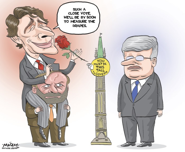 By Graeme MacKay, Editorial Cartoonist, The Hamilton Spectator - Tuesday October 20, 2015 Cartoon to run in the event minority government situation resulting from the Parliamentary seat count determined by votes cast in the 2015 General Election. editorial cartoon, #elxn42, Thomas Mulcair, Justin Trudeau, Stephen Harper, niqab, majority, rose, Pierre Trudeau