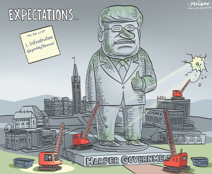 By Graeme MacKay, Editorial Cartoonist, The Hamilton Spectator - Wednesday October 21, 2015 Justin Trudeau's turn to face the weight of expectations Stephen Harper is a goner, and humiliated, too, to the near-erotic ecstasy of Canada's chattering classes, who loathed him with such intensity it's hard to think of a comparison in modern politics. Well, maybe Dick Cheney, George W. Bush's Darth Vader. Suddenly, in Justin Trudeau we have a prime minister-designate who's banging on about hope and trust and inclusiveness and believing in yourself and being better and listening to everyone and diversity and all sorts of other happy thoughts. He even threw in tolerance for hijabs. Last week, Harper tried to say this wasn't about him, but it was. All those Conservative candidates he muzzled and controlled are probably wishing they'd grown some spine and stood up to those PMO staffers who've been ordering them around for years. The smile that spread across the lips of the Canadian elites during the last week of this election, when Harper was reduced to posing with Rob Ford and his brother in an attempt to shore up what amounts to the Canadian Tea Party vote, was almost wolfish. It won't be hard for Trudeau to keep his most prominent promise Ñ to run a deficit for a few years. Spending more than you earn is always easy. He may already be inheriting a deficit. But he's taking power at a time of tremendous transformation. A housing correction may be coming. Younger generations are struggling with debt. At the same time, entire cohorts of baby boomers are retiring. Try to trim their entitlements, which will almost certainly be necessary, and see what happens. Or try to force some competition into the Canadian banking sector. Or the almost closed-shop telecommunications sector. Or try to cut red tape at the border, and encourage true free trade with the Americans. Trudeau will need revenue to fulfill his agenda, but even Liberals won't be keen on restoring the taxes Ste