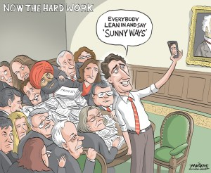 By Graeme MacKay, Editorial Cartoonist, The Hamilton Spectator - Thursday November 5, 2015 (James Mennie column) When you consider weÕve just come through a federal election campaign where the selfie proved itself a legitimate and highly effective political tool, it wasnÕt surprising this weekend to see Justin Trudeau, the undisputed winner of that campaign, proving once again he is the most photogenic prime minister designate in recent Canadian history. If you missed it, the Trudeau familyÕs trick or treat theme on Saturday night was rather eclectic, Mom and Dad going with a generic Star Wars look while the two older children opted for your standard Disney princess and sword toting bird ensemble while the youngest (the choice presumably made for him) was led from door to camera-crew-surrounded door as a Ninja Turtle. Given that Trudeau had already tweeted a Happy Halloween message and family portrait to his 932,000 followers, the images flooded social media and the comments seemed for the most part to be positive, many of them expressing delight at the countryÕs being led by so down to earth and happy looking a family. And when you consider that even the crustiest, most hard bitten political analysts have acknowledged that TrudeauÕs message of hope and positiveness pretty much cut Stephen HarperÕs campaign to ribbons, itÕs a pretty safe bet the optimistic glow engendered by the Liberal victory on Oct. 19 will continue beyond the swearing-in ceremony for Trudeau and his first cabinet scheduled for Wednesday. That said, IÕm not entirely sure that glow will still be around by, say, Christmas. And the reason I suspect TrudeauÕs national honeymoon wonÕt survive 2015 is that the selfie taking, Star Wars loving, YouTube dancing, drama teaching, musketeer mustachioed candidate- the guy who actually won this thing Ð will, by sheer political necessity, cease to exist once the words ÒSo help me GodÓ have left his lips on Wednesday. The transformation wonÕt be due to pr