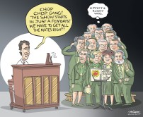 """By Graeme MacKay, Editorial Cartoonist, The Hamilton Spectator - Tuesday November 24, 2015 Justin Trudeau, premiers seek to unify Canada's message on climate change With a first ministers meeting set to take place in Ottawa today just one week before the start of the Paris climate talks, a number of premiers are reminding Justin Trudeau he's not swooping in at the 11th hour to save the day. In fact, some are voicing concern the new prime minister may """"fiddle around"""" with plans already in place. Environment Minister Catherine McKenna reiterated a key Liberal campaign pledge on Friday: """"We promise to provide national leadership to take action on climate change, put a price on carbon and reduce carbon pollution,"""" she told attendees of the Canada 2020 conference on Friday. Earlier in the day, Quebec Premier Philippe Couillard reminded journalists at the same conference that the provinces have been showing leadership on this file for years. """"I am very happy to be working with the federal government and colleagues around the table, but let's resist the temptation to start from scratch."""" Saskatchewan Premier Brad Wall has been among those most resistant to putting a price on carbon for his province, expressing concern that the harm to the economy would outweigh environmental benefits. That said, he is expected to unveil a plan later on Monday to have his province get at least half of its electricity supplied by renewable resources. New Brunswick Premier Brian Gallant says he also intends to make sure economic considerations remain front and centre at the meeting. """"We are all very much focused on creating jobs and growing the economy so we have to have these subjects come up in the same conversation to make sure we are growing the economy in a sustainable way,"""" he said Saturday.(Source: CBC News) http://www.cbc.ca/news/politics/trudeau-premiers-climate-change-meeting-1.3330284 Canada, Justin Trudeau, Kathleen Wynne, Rachel Notley, Philippe Couillard. Stephen McNe"""