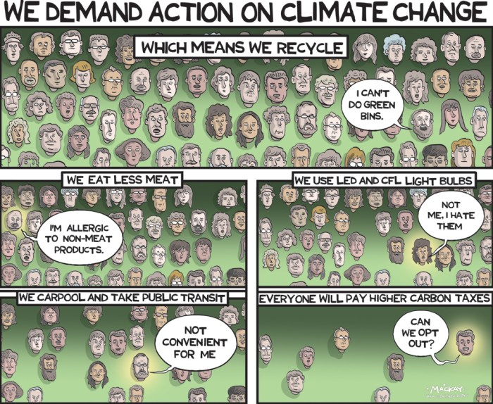 By Graeme MacKay, Editorial Cartoonist, The Hamilton Spectator - Tuesday December 1, 2015 Canadians back bold climate-change action, poll finds Prime Minister Justin Trudeau heads to global climate talks in Paris with a new pledge of billions for the cause and a call for a strong international agreement, promising to follow up with a domestic plan with the provinces Ð and a new poll suggests that is probably in line with what Canadians want. At the Commonwealth summit in Malta on Thursday, Mr. Trudeau grabbed a little attention by announcing that Canada will put $2.65-billion over five years into climate-change funds for developing countries Ð a doubling of previous funding. He announced it behind closed doors to fellow leaders with some flourish, according to aides: ÒIÕm here today not just to say CanadaÕs back but to show it,Ó they quoted him as saying. On Saturday, Mr. Trudeau heads to Paris, promising a new level of Canadian ambition in fighting climate change Ð which he has said will be followed by a deal with provincial premiers, five of whom are joining him in Paris, on the nitty-gritty measures to cut greenhouse-gas emissions. ItÕs a dramatic shift, and intended to be. But a new poll suggests itÕs not likely to be deeply controversial: Large majorities of Canadians believe climate change is a threat to the countryÕs economic future. The Nanos Research Group poll of 1,000 Canadians Ð conducted for The Globe and Mail and CTV News Ð found that 73 per cent agree or somewhat agree that Òclimate change presents a significant threat to our economic future,Ó while only 16 per cent disagree or somewhat disagree. The telephone survey, conducted between Nov. 21 and 24, carries a margin of error of 3.1 percentage points, 19 times out of 20. The poll finds a clear view among Canadians: 72 per cent think the science of climate change is irrefutable, 79 per cent believe CanadaÕs international reputation has been hurt by its previous efforts, and 63 per cent indicate