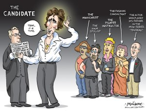 Editorial Cartoon by Graeme MacKay, Editorial Cartoonist, The Hamilton Spectator - Friday January 12, 2007 Is Justin Trudeau set to run as MP? Justin Trudeau is about to enter federal politicsÑwell, according to everyone but him, that is. While the 35-year-old school teacher and academic is remaining coy about his intentions, a report published in MontrŽalÕs French-language daily La Presse on Tue, Jan 9, claims that the eldest son of former Prime Minister Pierre Elliot Trudeau is planning on running as a Liberal candidate in the next federal election in Outremont, a riding located in the centre of the Island of MontrŽal that is home to wealthy Francophone families and a sizeable Jewish community. Outremont is considered to be an extremely ÒsafeÓ riding for the partyÑsince its creation in 1933, the Liberals have failed to win the seat only once, in 1988Ñand the areaÕs current MP, former Transport Minister Jean Lapierre, has indicated that he does not plan to run in the next election. Despite his denials and deflections (ÒI have no comment to make at this time,Ó Trudeau wrote in an email to the MontrŽal Gazette), the increasing likelihood of TrudeauÕs entrance into the House of Commons has set political pundits and journalists abuzz. A recent article in MacleanÕs magazine headlined ÒHis SecretÕs OutÓ claims that Trudeau hinted in an interview that he would make an announcement regarding his future in politics sometime after Christmas, while a close friend of the supposed star candidate reportedly told the magazine ÒOff the record, I think heÕs pretty much there.Ó (Source: Vue) editorial cartoon, 2007, Justin Trudeau, Pierre Trudeau, Colm Feore, politics, Outremont, trudeau