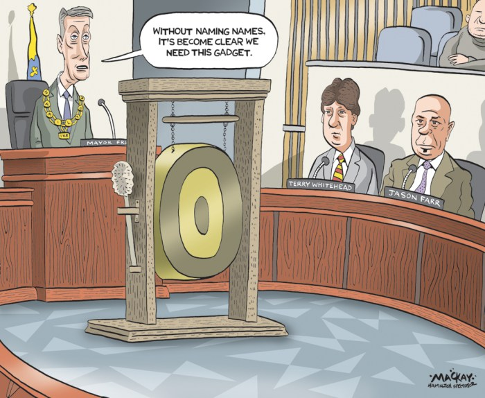 "By Graeme MacKay, Editorial Cartoonist, The Hamilton Spectator - Hamilton, city, council, gong, show, Fred Eisenberger, Terry Whitehead, Jason Farr, speech, politics Mayor Fred wants council to cork it (By Andrew Dreschel) ""If you can't say it in five minutes, then you really can't say it."" That's Fred Eisenberger's guiding philosophy for speaking during city meetings and, for the sake of productivity, he'd like the rest of council to follow suit. The mayor thinks too much time is being wasted with long-winded repetitive comments that don't advance the discussion or the agenda. ""Let's do what we're advocating our staff to do Ñ be efficient and get the job done in a cost effective, crisp way. ""Be precise, be clear, get to the point, and let's move on."" Eisenberger first raised his paean to pithiness during the tail end of a wordy two-hour discussion over a road issue that council won't even vote on until late 2016 or early 2017. Judging by the reaction of some of his colleagues, it may be his most popular idea to date. ""I agree with Fred. There a point where you just don't keep talking,"" said Robert Pasuta. Pasuta tends to be the strong and silent type, but when he does speak it's short and to the point. ""I think it's more important to make your point than just go on and on because the context of what you want to say gets lost in all the BS."" Doug Conley, another who tends to save his breath, also agrees there should be more lip-zipping. ""It would cut down our meetings by half an hour to an hour."" Conley doesn't want a speaker to be shut down right at five minutes, but he or she should be urged by the chair to wrap it up at that mark. The problem, Conley says, is four or five councillors often end up saying the same thing rather than acknowledging their points have been covered by others. According to the procedural bylaw, councillors can ask unlimited questions about a presentation or motion. But they can't comment on a subject for longer than five"