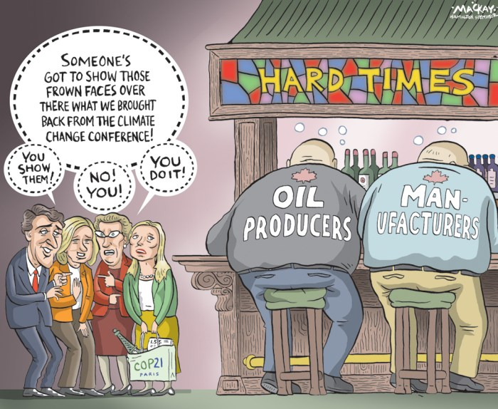By Graeme MacKay, Editorial Cartoonist, The Hamilton Spectator - Tuesday December 15, 2015 After Paris climate talks comes the hard part: a global carbon diet The world is about to go on a carbon diet. It won't be easy Ñ or cheap. Nearly 200 countries across the world on Saturday approved a first-of-its-kind universal agreement to wean Earth off fossil fuels and slow global warming, patting themselves on the back for showing such resolve. On Sunday morning, like for many first-day dieters, the reality sets in. The numbers Ñ like calorie limits and hours needed in the gym Ñ are daunting. How daunting? Try more than 7.04 billion tonnes. That's how much carbon dioxide needs to stay in the ground instead of being spewed into the atmosphere for those reductions to happen, even if you take the easier of two goals mentioned in Saturday's deal. To get to the harder goal, it's even larger numbers. In the pact, countries pledged to limit global warming to about another one degree Celsius from now (or 2 C measuring against the pre-industrial average global surface temperature) Ñ and if they can, only half that. Another, more vague, goal is that by sometime in the second half of the century, human-made greenhouse gas emissions won't exceed the amount that nature absorbs. Earth's carbon cycle, which is complex and ever-changing, would have to get back to balance. (Source: CBC News) http://www.cbc.ca/news/world/paris-cop21-climate-deal-fallout-1.3363024 Canada, Carbon, Climate Change, Justin Trudeau, Kathleen Wynne, Rachel Notley, Catherine McKenna, Business, oil, industry, manufacturing, sustainable, development