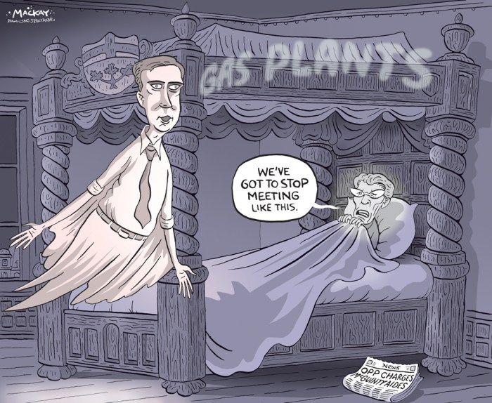 "Editorial Cartoon by Graeme MacKay, The Hamilton Spectator - Friday December 18, 2015 OPP charge two former McGuinty aides in connection with gas plants scandal Ontario Provincial Police laid criminal charges Thursday against two top aides to former premier Dalton McGuinty in a gas plants scandal that cast a cloud over his final days in power. David Livingston, McGuinty's former chief of staff, and Laura Miller, the deputy chief who went on to work for British Columbia Premier Christy Clark, are each charged with breach of trust, mischief in relation to data and misuse of a computer system to commit the offence of mischief. The charges stem from the destruction of thousands of government emails about the Liberals' decision to cancel planned gas plants in Oakville and Mississauga prior to the 2011 election. The province's auditor found the move will cost ratepayers up to $1.1 billion. McGuinty's lawyer, Ronald Caza, issued a statement Thursday saying the OPP had made clear last June that the former premier was not the subject of their investigation. ""Today's events again confirm there was no wrongdoing on the part of the former premier,"" Caza said. Miller issued a statement announcing she had stepped down as executive director of the B.C. Liberal Party, and accused the OPP of having a bias against her because of a complaint she filed with the Ontario Independent Police Review Director. The director ordered the OPP commissioner to hold a police misconduct hearing for Det.-Const. Andre Duval, but the commissioner ""resisted"" this finding by appealing it to the Superior Court of Justice of Ontario, said Miller. ""Officers involved in a substantiated complaint should not have been allowed to continue investigating,"" she said in her statement as she vowed to vigorously defend herself against the charges in court. ""Every Canadian expects and deserves impartiality and fairness in police charging decisions. I do not believe that to be the case here."" Both Livingston"